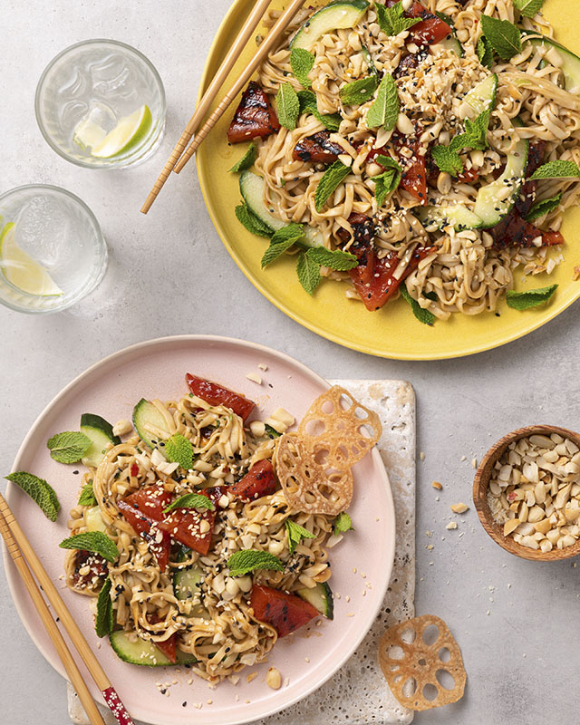 Peanut Charred Watermelon Noodle Salad