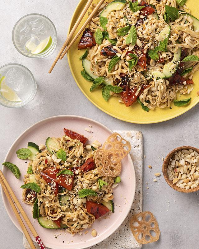 Peanut Charred Watermelon Noodle Salad